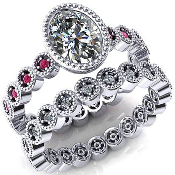Borea Oval Moissanite Full Bezel Milgrain Ruby Accent Full Eternity Ring