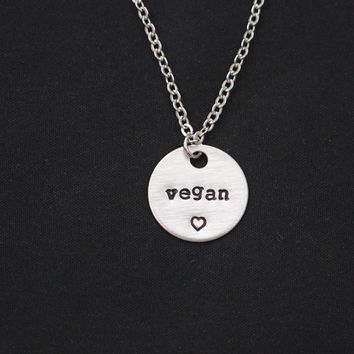 vegan necklace, sterling silver filled, vegan jewelry, veganism, vegetarian necklace, animal lover, vegan pride, Christmas gift, birthday