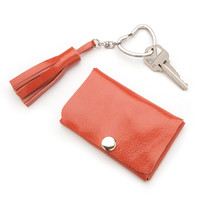 Leather Card Wallet and Tassel Keychain Set