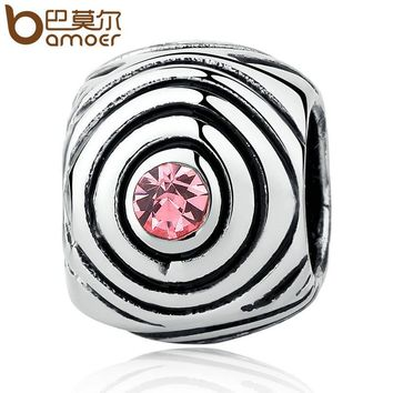 Silver Color Pink Stone Bead Charms Fit Bracelets Necklaces Fashion Beads & Jewelry Making PA5325