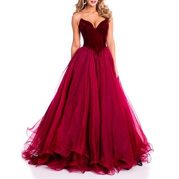 Beautiful Burgundy Prom Dresses with V Neckline Sexy Long Prom Dress 2017 Backless Organza Ruffles Custom Made
