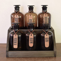 Glass whiskey decanter (set of six) Alcohol decanter, bar set, apothecary jars, apothecary bottles, scotch bottles, gifts for guys