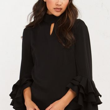 SHIRT WITH RUFFLE LAYERED SLEEVES