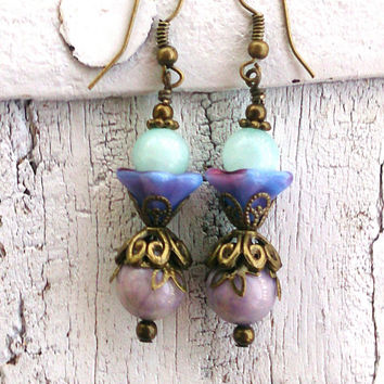 Pastel Flower Earrings Aqua Jade Earrings Bronze Earrings Purple GEMSTONE EARRINGS Semi Precious Stone Earring  Nickel Free