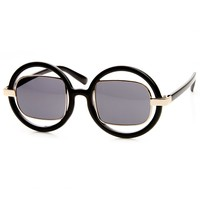 Oversized Round Frame w/ Metal Square Tinted Lens Fashion Sunglasses