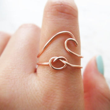 wave ring, love knot ring, love knot ring set, wave ring set, rose gold ring set, rose gold knot ring, knot ring, love ring, ring set, gift