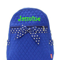 Royal Blue and White Polka Dot Monogrammed Backpack  Monogram Quilted Backpack  Personalized Backpack