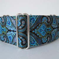 Turquoise Martingale Dog Collar, 2 Inch Martingale Collar, Damask, Turquoise Dog Collar, Greyhound Collar, Wide Collar, Sighthound Collar