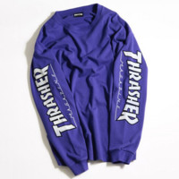 THRASHER Letter and Logo Print Long Sleeve Sweater