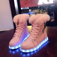 Yeafey Luminous Women Sneakers Girls Led Glowing Shoes Girls Winter Fur Rubber Boots Female Children Shoes with Slippers Lights