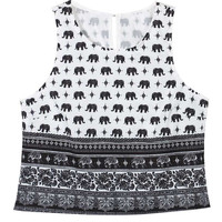 Black and White Elephant Crop Top
