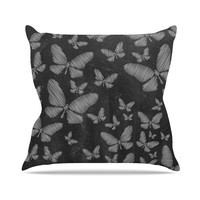 "Snap Studio ""Butterflies III"" White Chalk Outdoor Throw Pillow"