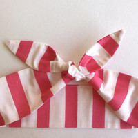 Dolly Headband, Tie-Up Hairband, Pink and White Stripe - READY TO SHIP!