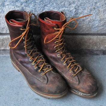 Vtg Hand Made Paul Bunyan Leather Hunting Boots - Men's Size 10-1/2 D