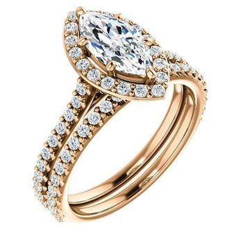Marquise Moissanite Diamond Accent Ice Halo Bezel Ring