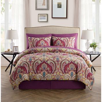 Alexa 8 Piece Maroon Bed in a Bag Set