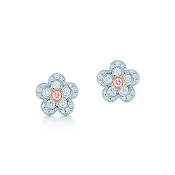 Tiffany & Co. - Flower earrings in platinum and rose gold with white and Fancy Pink diamonds.