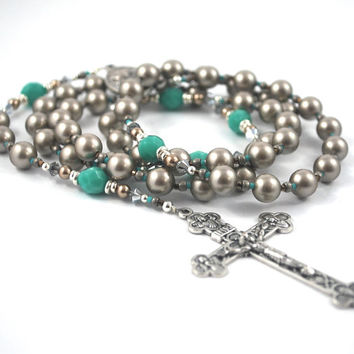 Platinum pearl & Turquoise blues Rosary Catholic Rosary Rosary Beads silver Rosary Confirmation Gift Baptism Rosary Neutral Pearl Rosary