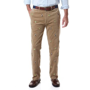 Beachcomber Corduroy Pant in Khaki with Embroidered Scrooge & Money Bag by Castaway Clothing - FINAL SALE