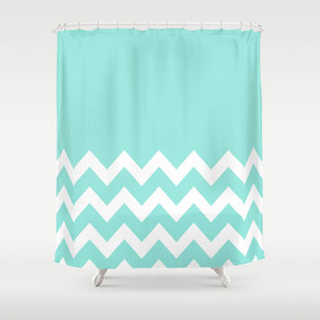 Chevron Colorblock Tiffany Blue Shower Curtain by Beautiful Homes