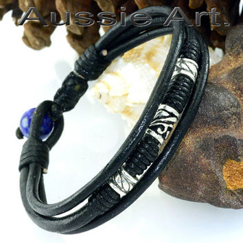 B-114 Solid Sterling Silver Leather Lapis Lazuli New Wristband Men Bracelet.