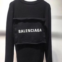 """Balenciaga"" Women All-match Fashion Letter Patch Long Sleeve Knit Sweater Tops"