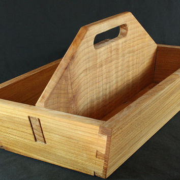 Solid Elm and Figured Maple Tool Box, Wood Tool Box, Wooden Garden Tote, Wood Craft Tote, Wooden Tool Tray, Hardwood Tool Storage Box
