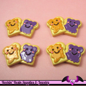 4 pcs PEANUT BUTTER & JeLLY Resin Decoden Flatback Kawaii Cabochons 32x20mm