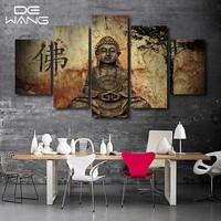5 Piece Zen Buddha Modern Home Wall Decor Painting Canvas Art HD Print Painting Canvas Wall Picture For Home Decor Buddha Art