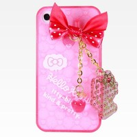 Hello Kitty iPhone4 Case with Charm: Pink
