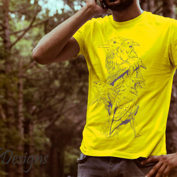 Special Hand Drawn Ravens Bird Design Cotton DTG Print T Shirt - Graphic Tee - Unique Gift For Men