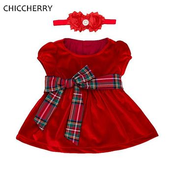 Velvet Girls Red Christmas Dress Headband Baby Girl Clothes Vetement Bebe Fille Christmas Costume Infantil Valentines Day Outfit
