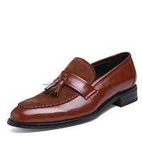 New British Carving Tassel Men Oxfords Shoes Black Brown Size 38-43 Fashion Pointed Toe Men's Brogue Shoes