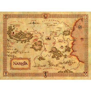 Large of vintage home decor Narnia treasure map canvas painting art  wall picture for living room free shipping