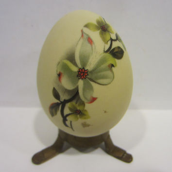 Folk Art Egg Hand Decorated Floral Bisque Paperweight