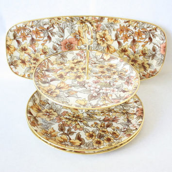 Retro Fiberglass Serving Tray Set Chalford Glos by Arnold Designs Ltd. Made in England. Pattern NS4. Two Tier Tray, Round And Oblong