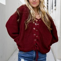 All Right Now Dark Burgundy Oversized Sweater
