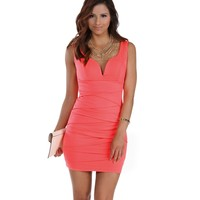 Coral V Neck Bandage Dress