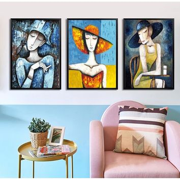 The Harlequin and A Black Raven Women Wall Art Paint Wall Decor Canvas Prints Canvas Art Poster Oil Paintings No Frame