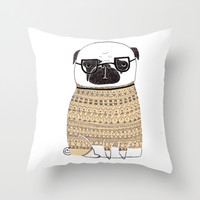 Pug Throw Pillow by Phillippa Lola