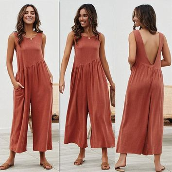 Women's sexy dress vest jumpsuit strap dress