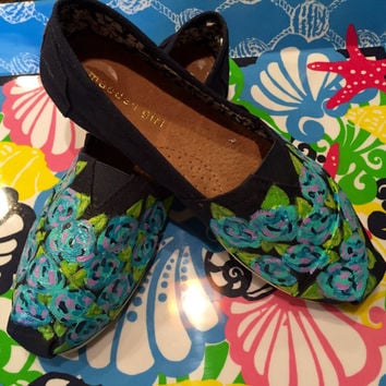 Hand painted canvas Steve Madden flats. Tom's inspired with a Lilly Pulitzer like design.