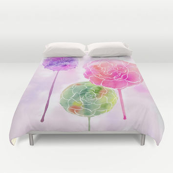 Succulent and Roses Duvet Cover by Janet Broxon