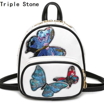 Triple Stone Butterfly Mini Women Backpack Female Fashion Small Travel Daily Bagpack Embroidery Vintage Brand Girls Shoulder Bag