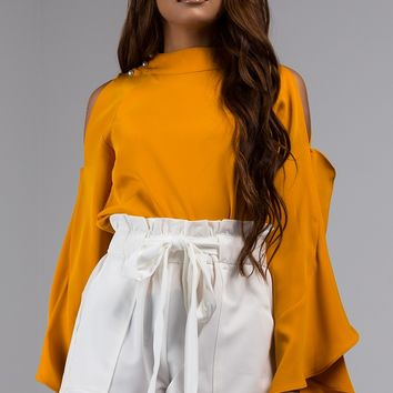 Silky Shoulder Cut Out Blouse with Wide Ruffle Detail and Mock Neck Collar in Mustard