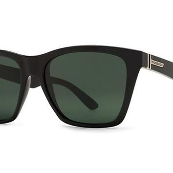 VonZipper - Booker Black Gloss BKV Sunglasses, Vintage Grey Lenses