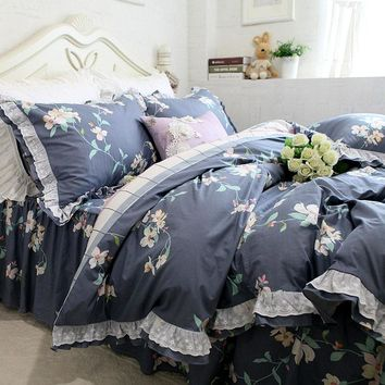 European pastoral bedding set ruffle lace duvet cover bedding flower print bedspread bed sheet for bed clothes 100% cotton sale