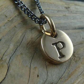 "Initial Necklace - One Bronze Letter Charm on 18"" Gunmetal Chain"
