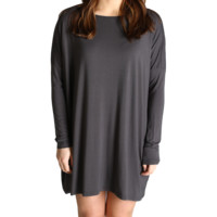 Dark Grey Piko Tunic Long Sleeve Dress