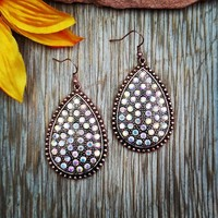 Bronze Rhinestone Teardrop Earrings